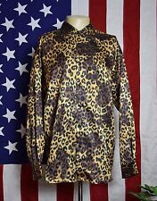 VINTAGE MONZINI COLLECTION MODA ITALY SHINY METALLIC LEOPARD PRINT SHIRT * LARGE