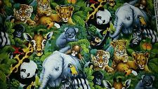 LINED VALANCE 42X15 JUNGLE SAFARI ANIMALS ZOO ELEPHANT TIGER PANDA ZEBRA PARROT