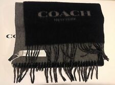 COACH MEN WOOL AND CASHMERE BLEND BI-COLOR LOGO WINTER SCARF COACH F86542