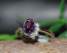 2ct oval amethyst DIAM0NDS dress ring size R 9