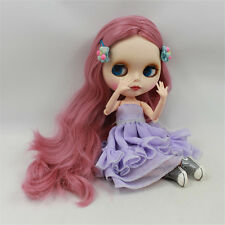 Takara 12'' Blythe Doll Neo Doll Purple Hair Matt Face BJD body for Custom USE