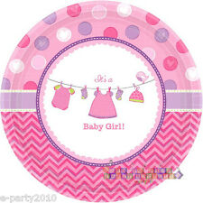 SHOWER WITH LOVE GIRL SMALL PAPER PLATES (8) ~ Baby Party Supplies Dessert Cake