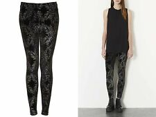 Topshop Ladies Black Glitter Palm Ankle Leggings Size 6 £28 BNWT Free P&P (AH)