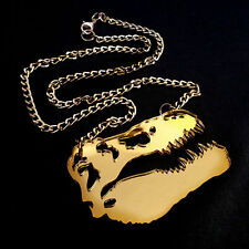 DINOSAUR Gold Mirror Large Statement Necklace~TRex Skeleton Pendant~Fossil Skull