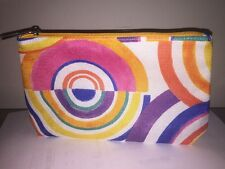 CLINIQUE Rainbow circles pattern COSMETICS CASE MAKEUP Multi large BAG POUCH new