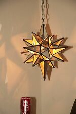 "Moravian 14.5"" antique mirror and clear glass combination star"
