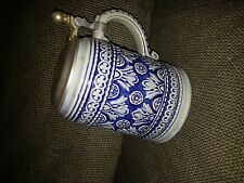 Stoneware West Germany Gerz Stein Pewter Lid Raised Gray on Blue Design