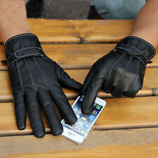 New Men Black Winter Leather Motorcycle Full Finger Touch Screen Warm Gloves