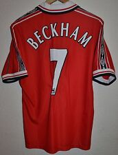 MANCHESTER UNITED 1998/1999/2000 TREBLE HOME FOOTBALL SHIRT UMBRO #7 BECKHAM