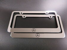 (2pcs) Mercedes-Benz LOGO chrome METAL license plate frame - Front & Rear