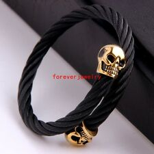 Cool Stainless Steel Gold Black Wire Cable Chain Skull Men/Women Bracelet Bangle