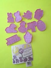10 WILTON 1990 PLASTIC EASTER COOKIE CUTTERS EGG  RABBIT  BUNNY FACE  SHEEP