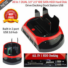 "2.5"" & 3.5"" DUAL HDD DOCKING STATION DISK IDE SATA HARD DRIVE USB DOCK HUB NEW"
