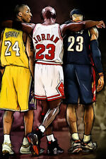 Kobe Bryant Michael Jordan LeBron James NBA Basketball Art 36x24 Inches Poster
