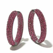 Joan Boyce Large Pavé Crystal Inside-Outside Hoop Earrings HEM FUCHSIA 426657
