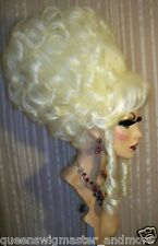 Drag Queen Wig Teased Plus Size White Blonde Marie Antoinette Curls French Twist