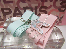 1 x  new  Chanel  Key  Chain  Charm Silver Keychain with pink + green  Ribbon