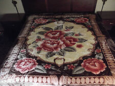 ☀NEW! 11 POUNDS! HEAVY & SOFT KING KOREAN STYLE MINK BLANKET BROWN MOCHA FLOWERS