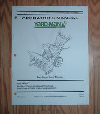 YARD-MAN STYLE K, L, O SNOW THROWER OPERATORS MANUAL WITH ILLUSTRATED PARTS LIST