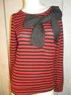 STARLING RED AND BLACK HORIZONTAL STRIPE BLOUSE WITH LARGE BLACK BOW