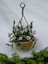 Miniature Dollhouse FAIRY GARDEN Accessories ~ Tiny Flowers in Hanging Pot ~ NEW