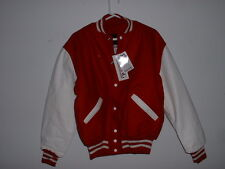 *NEW* DeLONG RED & WHITE HEAVY Leather Sleeves Wool & QUILTED Varsity Jacket L