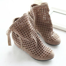 Sandals Shoes New Women Ankle Boots Summer Suede Low Hidden Wedge Hollow Out