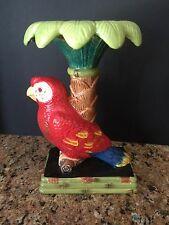 "AMAZON PARROT CERAMIC/PORCELAIN CANDLE HOLDER NWOT 8 3/4""��"