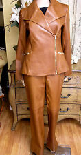 Vtg Dana Buchman 2 Pc Creamy Caramel Leather Pants Suit Jacket S:10 Pants S:4
