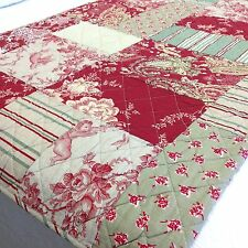 French Country Queen Bedspread Set Throw Quilt Toile Cherubs Patchwork 265x285cm