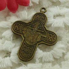 free ship 114 pieces bronze plated cross charms 36x27mm #3205