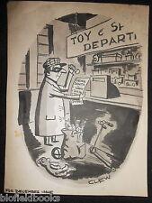"""Clifford C Lewis """"Clew"""" Original Pluma Y Tinta De Dibujos Animados-Tienda de juguete ladrón #502"""