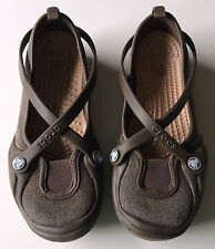 1 pair of gently used CROCS CELESTE canvas slip on womens girls size 4 sandals 1