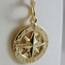SOLID 18K YELLOW GOLD WIND ROSE COMPASS CHARM PENDANT, MADE IN ITALY