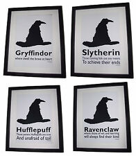 Harry Potter Inspired Sorting Hat - 4 Houses Picture Set - A4 Art Print / Poster