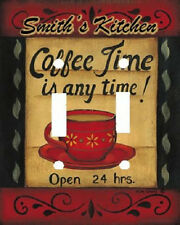 PERSONALIZED KITCHEN COFFEE TIME DOUBLE LIGHT SWITCH PLATE COVER