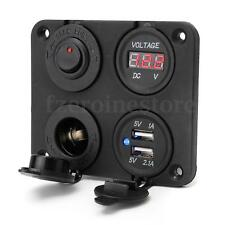 12-24V 2 USB Enchufe Voltmeter Power Socket 4 Orificio Panel ON/OFF BT Carro CAR