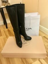Prada Long Knee High Black Boots In Size 6.5