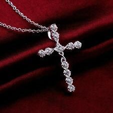 Women 925 Sterling Silver Plated Crystal Cross Pendant Necklace Chain Jewelry