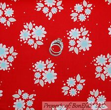 BonEful Fabric Cotton Quilt Red White Blue Calico Flower Dot USA American SCRAP