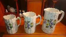 3 White with Moulded Flowers Gilding on Sides Jugs for Water, Cream or Milk