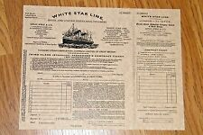 "1 TITANIC TICKET White Star Line Ship Replica Passenger Boarding Pass 8.5"" x 11"""