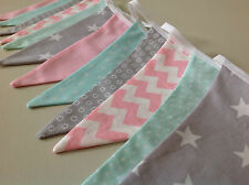 GREY STAR GREEN SPOTTY PINK STRIPE HANDMADE FABRIC BUNTING vintage nursery baby