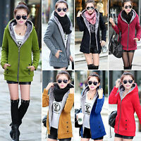 Womens Thicken Fleece Fur Lining Hooded Winter Coat Ladies Trench Jacket Outwear