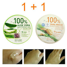 100% Aloe Vera Soothing Gel 300g + Snail Mucus Soothing Gel 300g 2pcs 3W CLINIC