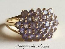 Vintage 9ct Gold Tanzanite Cluster Ring Full English Hallmark 9ct 375 Quality