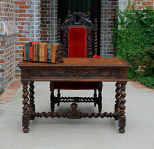 Antique French Oak LARGE Barley Twist Gothic Desk Library Sofa Table Hall Table