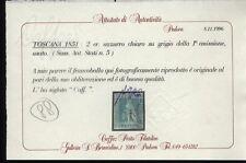 1851 TOSCANA  2 CRAZIE AZZURRO SU GRIGIO  NR.5  USATO  SASSONE €.225