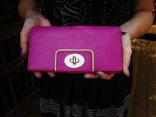 Kate Spade New York Hampton Road Turnlock Mara Wallet RASPBERRY PINK MAGENTA