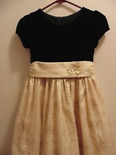 Girls Cinderella Size 10  and size 5 Black/Gold Maxi  short sleeved Dress